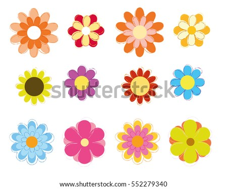 Colorful Flowers Vector Set