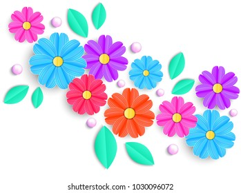 Colorful flowers,leaves and beads on white background.Vector illustration
