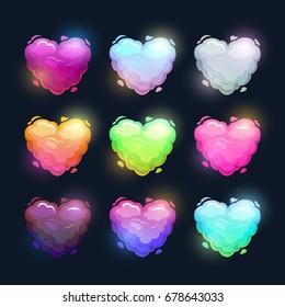 Colorful fluffy heart shape clouds. Vector love symbols set.