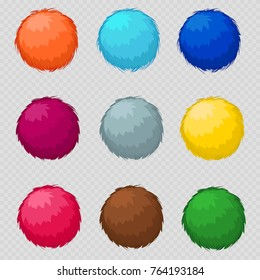 Colorful fluffy pompom fur balls isolated on transparent background. Vector illustration