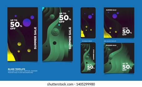 Colorful Fluid and Flow Summer Sale 50% discount Background. The Template can use for, landing page, template, ui, web, homepage, poster, banner, flyer.\n