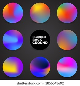 Colorful fluid, Round gradient set,Blurred circle backgrounds with modern abstract color gradient patterns. Colourful gradient orbs collection for your design. Vector illustration.
