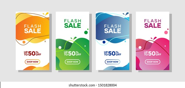 Colorful Fluid Sale Web Promotion Banner Vector Design