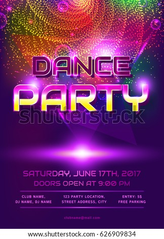 colorful flyer dance party invitation template stock vector royalty