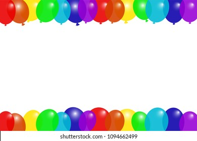 Colorful flying balloons frame. Greeting card template. Horizontal. Copy space. Vector illustration.