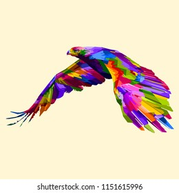 colorful flying eagle on pop art style ,low poly , geometric art