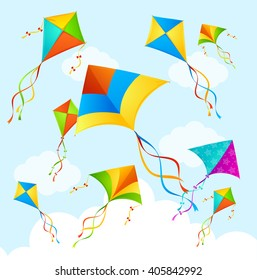 Colorful Flying Kite on Sky Background. Vector illustration