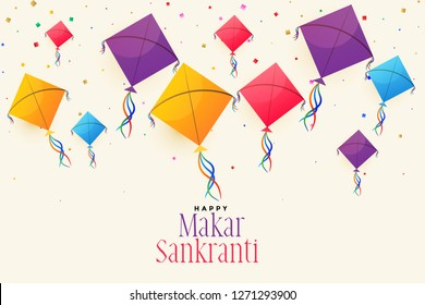 colorful flying kites for makar sankranti festival