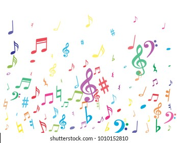 Colorful flying musical notes isolated on white backdrop. Fresh musical notation symphony signs, notes for sound and tune music. Vector symbols for melody recording, prints and back layers.