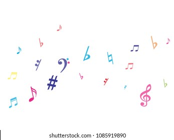 Colorful flying musical notes isolated on white backdrop. Child musical notation symphony signs, notes for sound and tune music. Vector symbols for melody recording, prints and back layers.