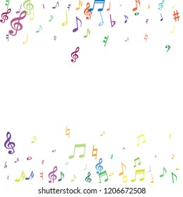 Colorful flying musical notes isolated on white backdrop. Stylish musical notation symphony signs, notes for sound and tune music. Vector symbols for melody recording, prints and back layers.
