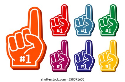 Colorful foam fingers vector set. Elements for sport support illustration