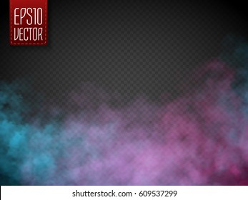 Colorful fog or smoke isolated, transparent special effect. Bright vector cloudiness, mist or smog background. Vector illustration