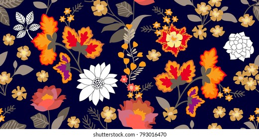 Colorful folk art style border. Seamless floral pattern with blooming flowers and grey leaves. Botanical print on dark background. Vintage textile collection.