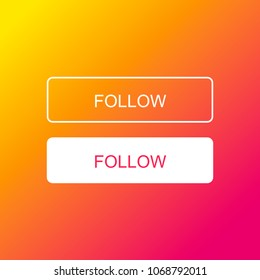 Colorful Follow Buttons. Vector.