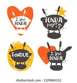 Colorful fondue lettering set. Traditional swiss dish. Hand drawn vector illustration. Can be used for farmers market, food festival, menu, cafe, restaurant, bar, poster, emblem, sticker, logo, label.