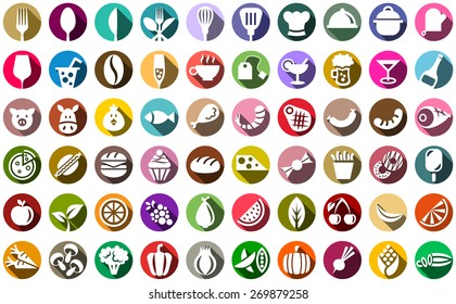 colorful food and drink icon set