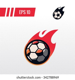 Colorful football soccer ball with fire tail sports logo label on white background. Vector isolated illustration.