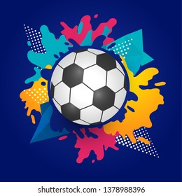 The colorful footballs on a white background.