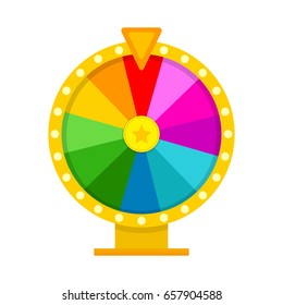 Colorful fortune wheel in flat style. Vector illustration.