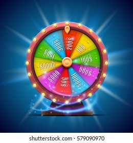 Colorful fortune wheel. isolated on blue background. Vector illustration