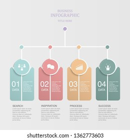 Colorful four steps workflow process chart for presentation slide template.