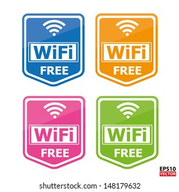Colorful four wifi free icons for business or commercial use.-eps10 vector