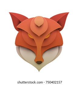 Colorful fox head in trendy paper cut craft graphic style. Modern design for advertising, branding greeting card, cover, poster, banner. Vector illustration.