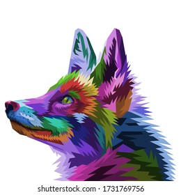 colorful fox on pop art style. vector illustration.