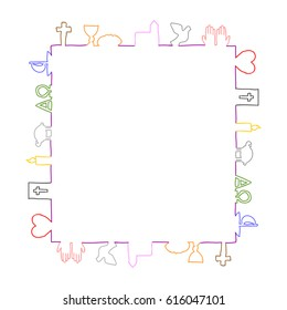 Colorful frame made of christian symbols