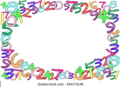 A colorful frame with random hand-drawn numbers, vector image