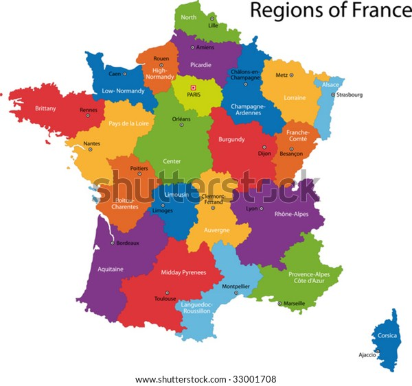 Map Of Regions France.Colorful France Map Regions Main Cities Stock Vector Royalty Free