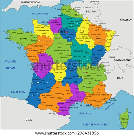 Provinces Of France Map In English.Colorful France Political Map Clearly Labeled Stock Vector Royalty