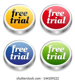 Colorful free trial buttons