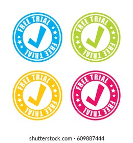 Colorful Free Trial Stamp Labels