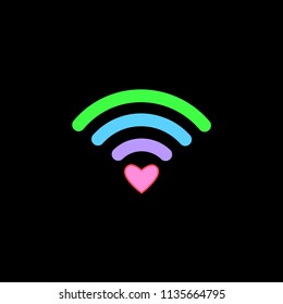 Colorful free WiFi icon with heart sign isolated on black background. Wireless internet connection concept. Network logo. Vector flat design.