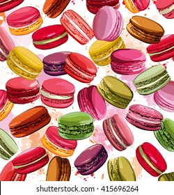 Colorful french macaron cookies collection - vector illustration