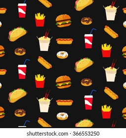 colorful fresh flat design fast food restaurant pattern wallpaper with black board background