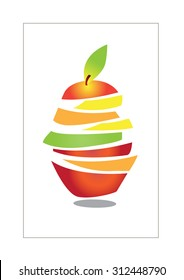 colorful fresh fruit slices , vector illustrations