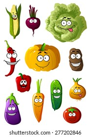 Colorful fresh healthy farm vegetables characters with happy smiles with corn, cabbage, beet, chili pepper, pumpkin, potato, pepper, carrot, eggplant, cucumber, onion, carrot and tomato