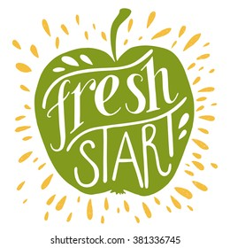 Colorful 'Fresh start' hand lettering motivational illustration. Green apple silhouette. Can be used as a print on t-shirts, bags, stationary and poster.