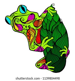 colorful frog in the style of zentangle