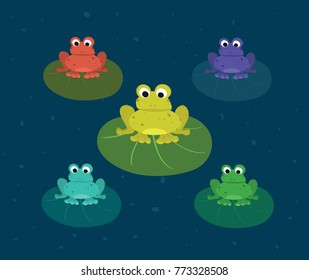 Colorful frogs sitting on the leafs. Funny animal for children. Cartoon character. Ideal for printing on cards or textile.