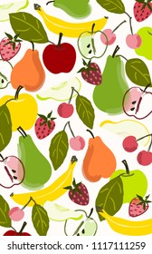 Colorful fruit background illustration. Hand drawn fruits for use as design elements, icons, placement prints, tea towels and more.
