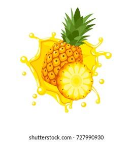 Colorful fruit design. Pineapple yellow juice splash burst. Vector illustration cartoon flat icon isolated on white.