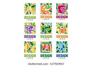 Colorful fruit logos collection. Original label template in rectangular shape. Healthy food concept. Flat vector design for packaging juice, organic shop poster or farm