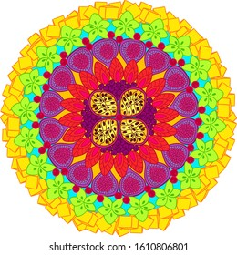 colorful fruit mandala vector template for decoration. Exotic colored fruit mandala