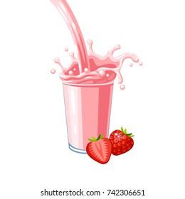 Colorful fruit milkshake design. Pink milky flow and splash in full glass of strawberry milk shake. Vector illustration cartoon flat icon isolated on white.