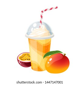Colorful fruit milkshake design. Plastic cup with lid and straw, full of mango milk shake. Vector illustration cartoon flat icon isolated on white.