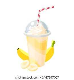 Colorful fruit milkshake design. Plastic cup with lid and straw, full of banana milk shake. Vector illustration cartoon flat icon isolated on white.
